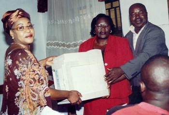 Mme Anne Nsang hands over printer