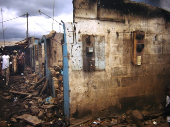 Tiko Market in ruins