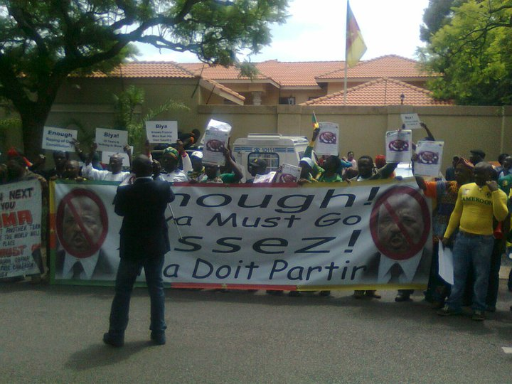 Cameroonians demonstrating in South-Africa