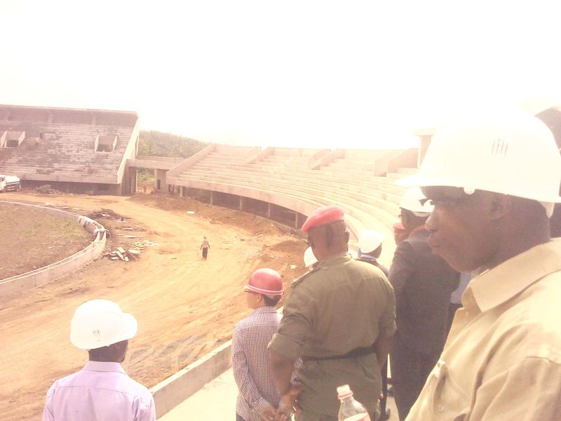 Ongoing construction of 20000 seat stadium at Ngeme-limbe II by a Chinese Company.