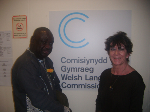 George Ngwane with Welsh Language Commissioner Madam Meri Huws